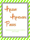 Holiday Themed Homework Passes