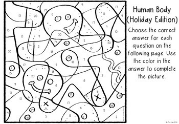 Holiday Themed Human Body Color-by-Number Activity