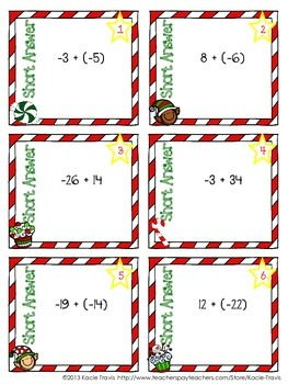 Winter Holiday Themed Integer Task Cards