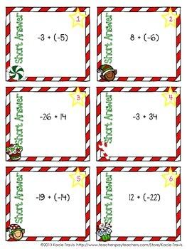 Winter Math- Holiday Themed Integer Task Cards
