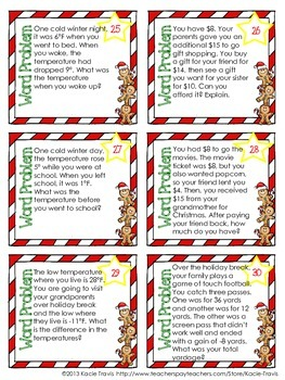 Winter Math- Holiday Themed Integer Task Cards