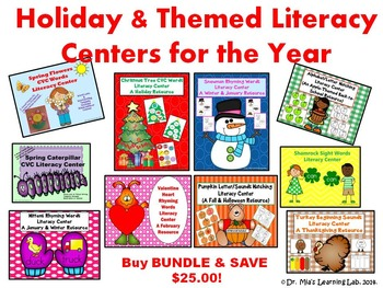 Literacy Centers for the Year (Hands-on Learning Resource for Holidays & Themes)