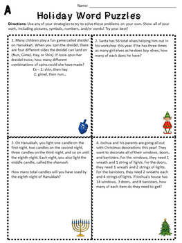 Holiday Themed Math Word Puzzle Challenges
