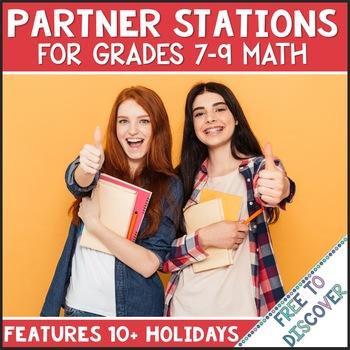 Holiday-Themed Partner Stations Bundle (8th Grade & Algebra 1)