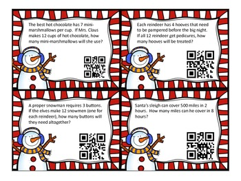 Holiday Themed Ratio and Proportion QR task cards