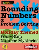 Holiday Themed Rounding Numbers Mystery Booklets: 9 Differ