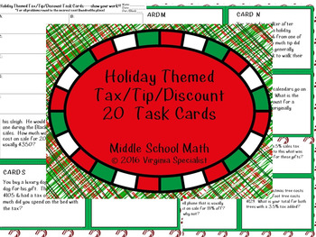 Holiday Themed Tax, Tip, Discount Task Cards