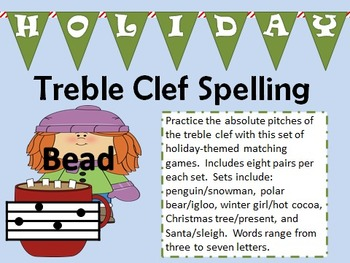 Holiday-Themed Treble Clef Spelling Game