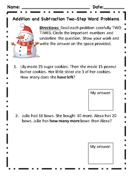 Holiday Themed Two-Step Word Problems