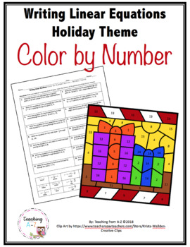 Holiday Themed Writing Linear Equations Color by Code Activity