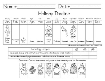 holiday timeline by jjgirl teachers pay teachers. Black Bedroom Furniture Sets. Home Design Ideas