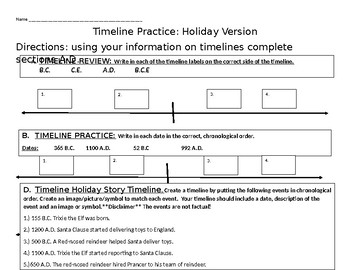 Holiday Timeline Practice By Now And Then Teachers Pay Teachers