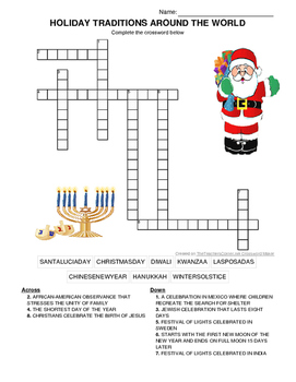 Holiday Traditions Around the World Crossword Puzzle