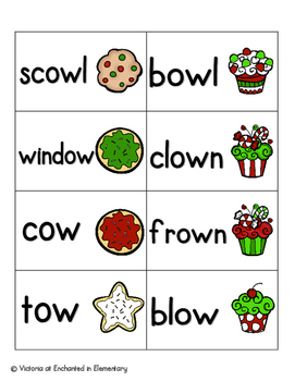 Holiday Treats Phonics: Vowel Digraphs and Diphthongs Pack 1: ow, ou, oo, ew