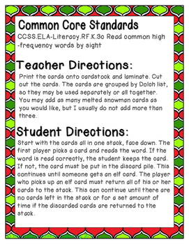 Holiday Treats Sight Words! Second Grade List Pack