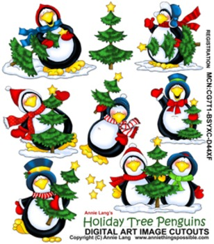 Holiday Tree Penguins Character Clipart