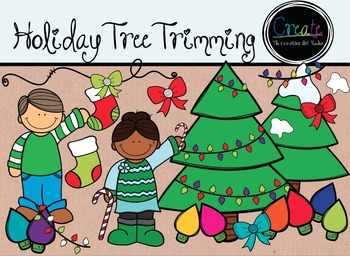 Holiday Tree Trimming - Digital Clipart