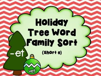 Holiday Tree Word Family Sort: Short E