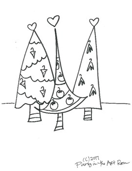 Holiday Trees Coloring Sheet FREEBIE