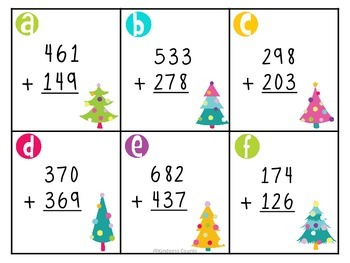 Christmas Tree Triple Digit Addition with Regrouping