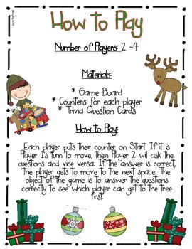 Holiday Trivia Board Game Freebie