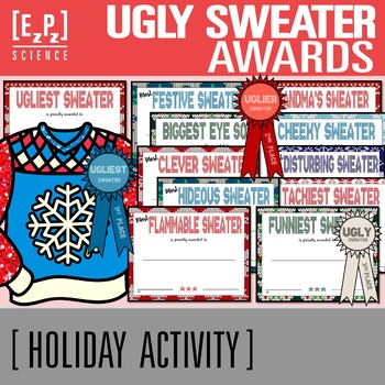 Holiday Ugly Sweater Awards And Certificates By Ezpz Science Tpt