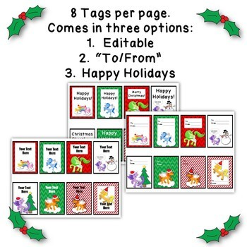Holiday Unicorn Gift Tags, Posters, and Coloring Pages. Editable Options too!