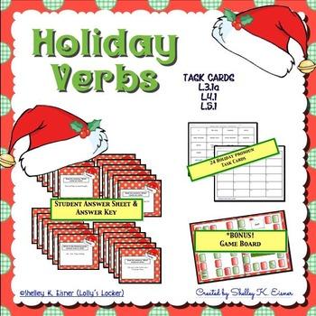 Christmas Holiday Verb Task Cards