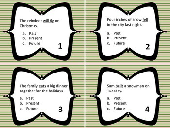 Holiday Verb Tense Task Cards