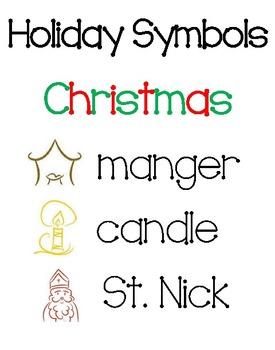 Holiday Vocabulary Symbol Cards