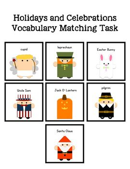 Holiday Vocabulary Folder Game for Early Childhood Special Education