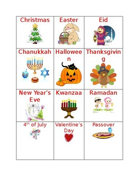 Holiday Vocabulary Words
