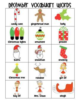 Holiday Vocabulary Words for Writing Literacy Workstation