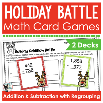 holiday math card games addition and subtraction with regrouping. Black Bedroom Furniture Sets. Home Design Ideas