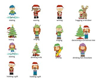 "Holiday ""What Doing,"" Pronouns, and Auxiliary Verbs Activity"