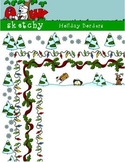 Holiday / Winter Borders / Frames 300dpi Transparent Color