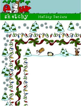 Holiday / Winter Borders / Frames 300dpi Transparent Color