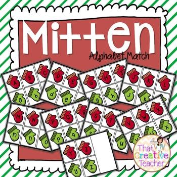 Holiday Winter Mitten Alphabet Match