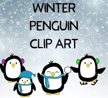 Holiday Winter Penguin Clip Art Commercial and Personal Use