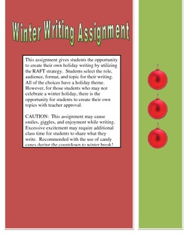 Holiday Winter Writing Assignment RAFT
