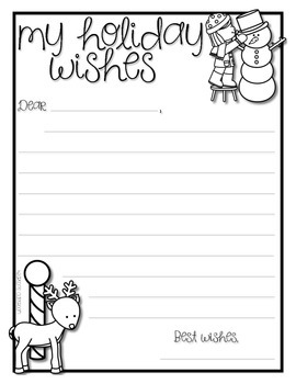 Holiday Wishes Letter Writing Activity *FREEBIE*