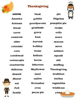 Holiday Word Banks (Halloween, Thanksgiving, December) - For All Grades