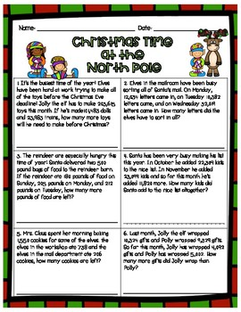 Holiday Word Problems- Fourth Grade (Christmas, Hanukkah, Kwanzaa)