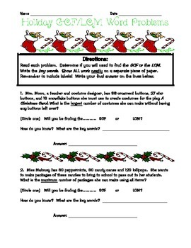 Holiday Word Problems Least Common Multiple/Greatest Common Factor