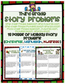 Holiday Word Problems- Third Grade (Christmas, Hanukkah, Kwanzaa)