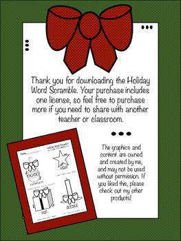 Holiday Word Scramble