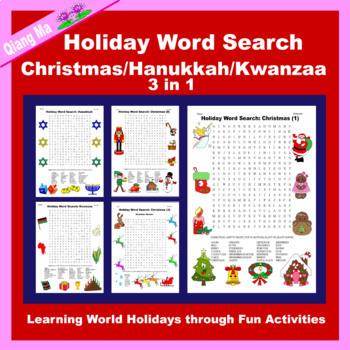 Holiday Word Search: Christmas/Hanukkah/Kwanzaa Bundle