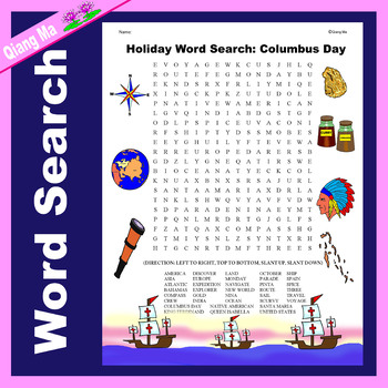 Holiday Word Search: Columbus Day