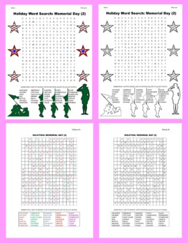 Holiday Word Search: Memorial Day