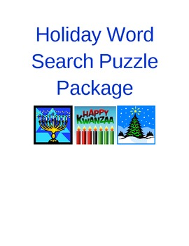 Holiday Word Search Puzzle Package
